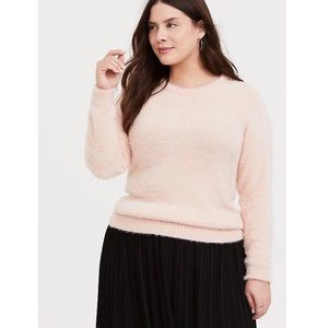 Torrid Blush Pink Fuzzy Knit Pull Over Sweater 4X